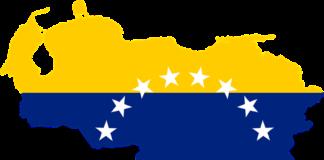 Carte du Venezuela sous fond de drapeau