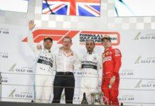 Lewis Hamilton, Valtteri Botta et Charles Leclerc sur le podium du Grand Prix de Bahreïn