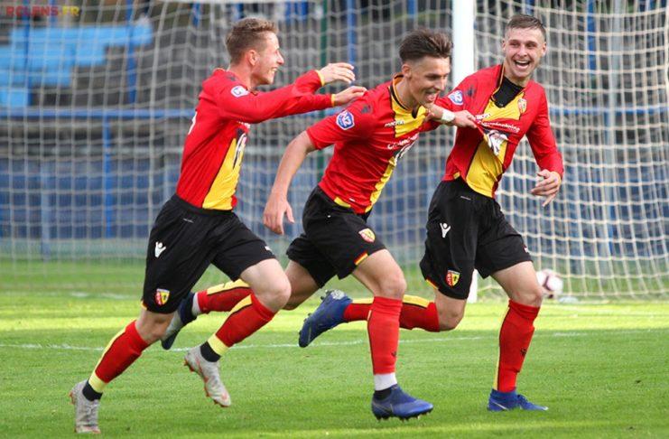 Des joueurs de Lens, jubilant lors du match contre Troyes