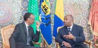 Le président rwandais Paul Kagamé en discussion avec son homologue gabonais Ali Bongo, lors de sa visite à Libreville le lundi 10 juin 2019