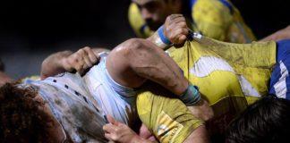 Des rugbymens du Top 14 dans une mêlée (Photo : Ligue Nationale de Rugby).
